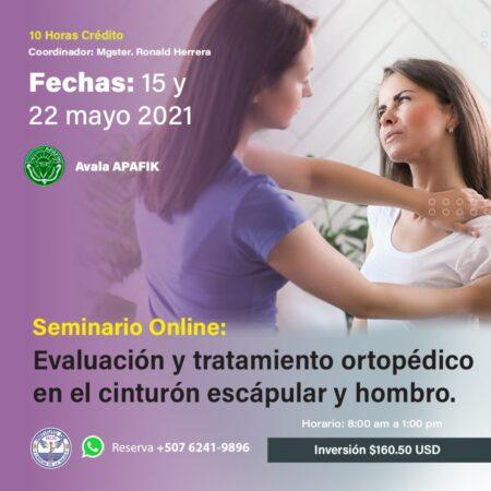 SEMINARIO VIRTUAL DE EVALUACIÓN, TRATAMIENTO Y TERAPIA MANUAL ORTOPÉDICA DEL CINTURÓN ESCAPULAR Y HOMBRO