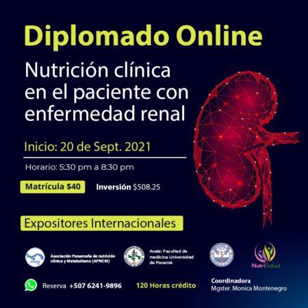DIPLOMADO VIRTUAL NUTRICIÓN CLÍNICA EN EL PACIENTE CON ENFERMEDAD RENAL